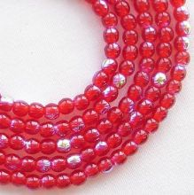 3mm Round Czech Glass Beads Siam Ruby AB - 100